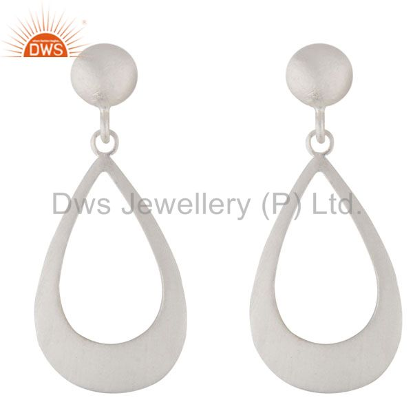 Handmade 925 Sterling Silver Cutout Teardrop Earrings