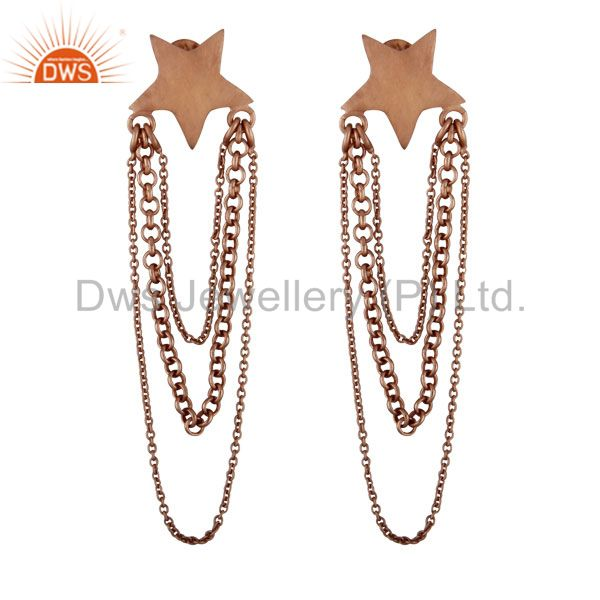 18K Rose Gold Plated Sterling Silver Star Link Chain Chandelier Earrings