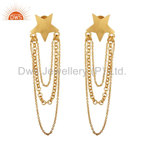 22K Yellow Gold Plated Sterling Silver Star Multi Chain Chandelier Earrings