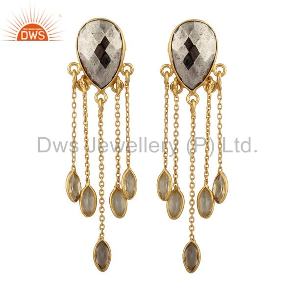 22K Yellow Gold Plated Sterling Silver Pyrite And Lemon Topaz Chandelier Earring