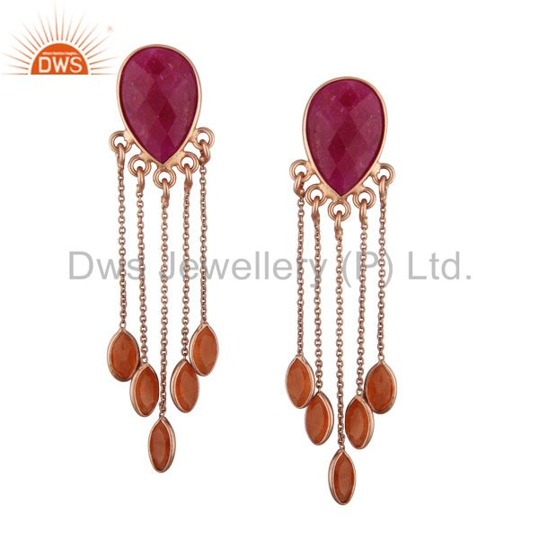 18K Rose Gold Plated Silver Dyed Ruby And Peach Moonstone Chandelier Earrings