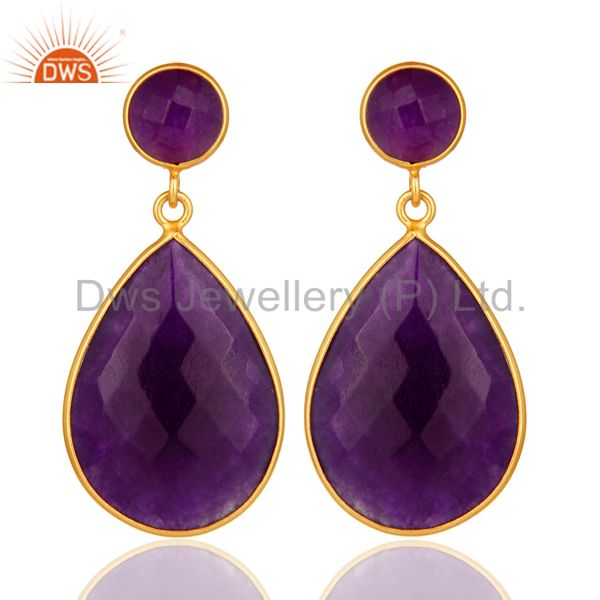18K Gold Plated Faceted Purple Chalcedony Sterling Silver Bezel-Set Earrings