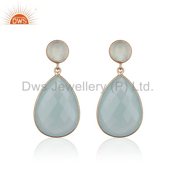 Aqua Chalcedony Gemstone 925 Silver Rose Gold Plated Drop Earring Manufacturers
