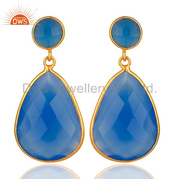 Gold Plated Sterling Silver Faceted Blue Chalcedony Gemstone Bezel Set Earrings