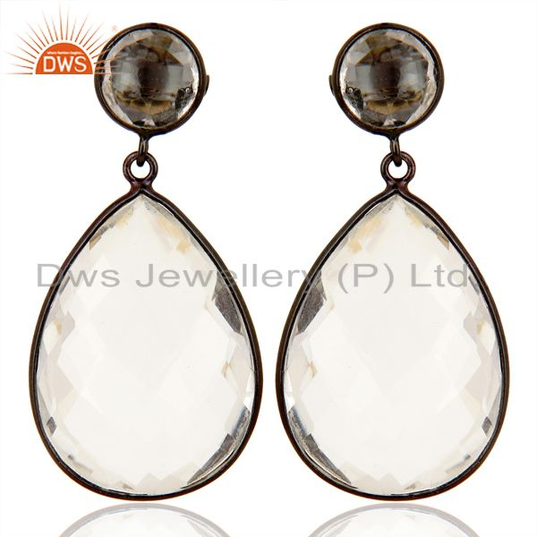 Crystal Quartz Stud And drop Black Rhodium Plated 92.5 Sterling Silver Earring