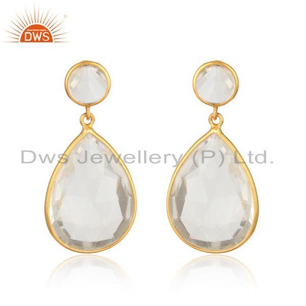 Handcrafted designer pear crystal quartz dangle in gold on silver
