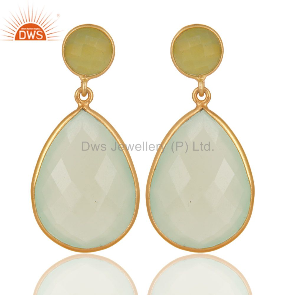 Dyed Chalcedony Sterling Silver Bezel-Set Stones Dangle Earrings - Gold Plated