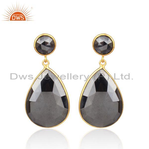 Hematite Set Gold On Silver Pear Shaped Statement Earrings