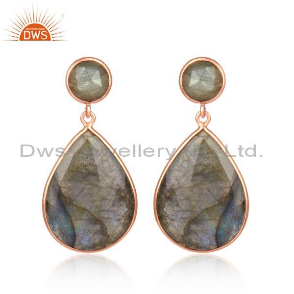 Labradorite Set Gold On Silver Pear Shaped Classic Earrings
