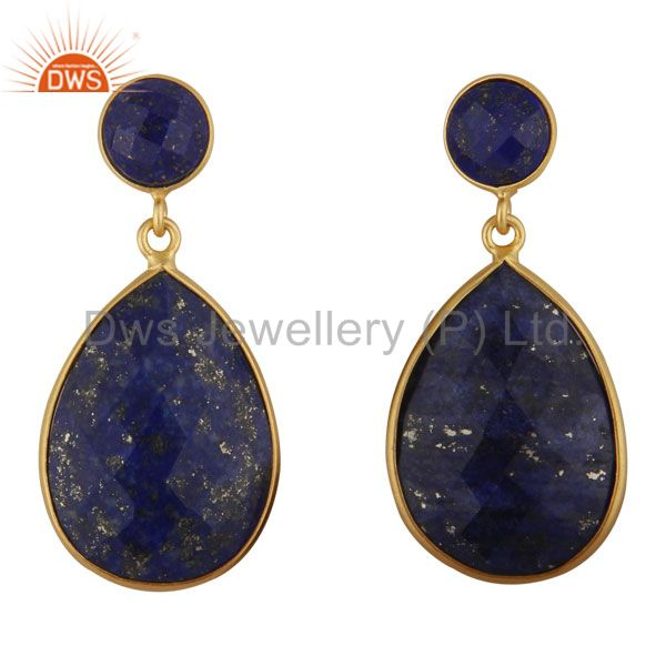 18K Yellow Gold Plated Sterling Silver Lapis Lazuli Bezel Double Drop Earrings