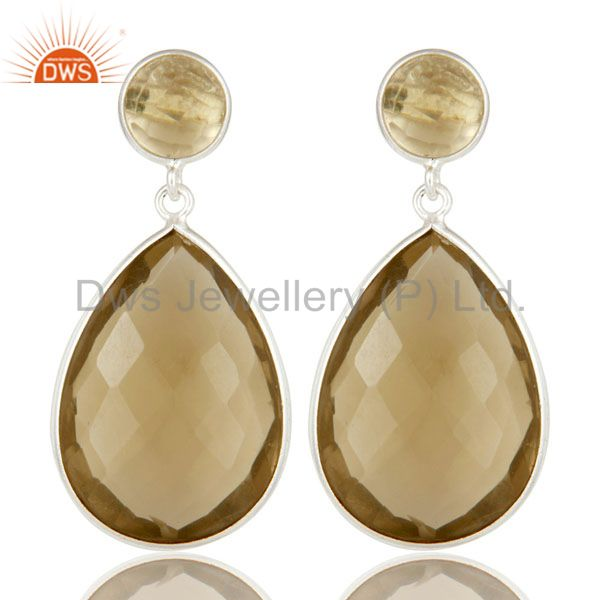925 Sterling Silver Lemon Topaz Gemstone Bezel Set Double Drop Earrings