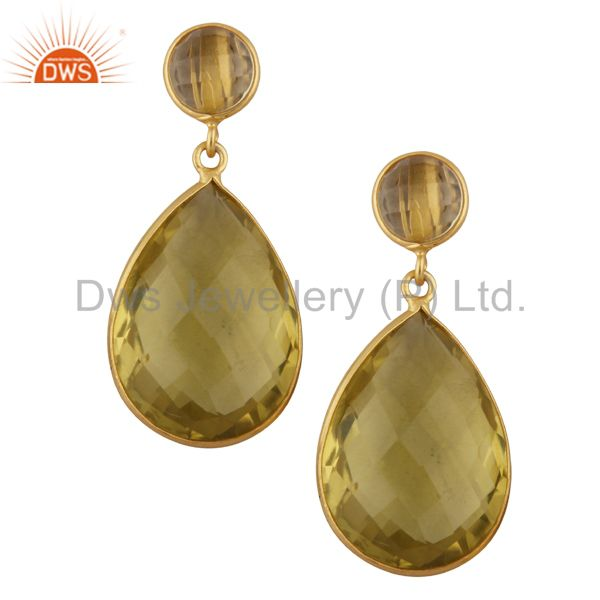 18K Yellow Gold Plated Sterling Silver Lemon Topaz Bezel Double Drop Earrings