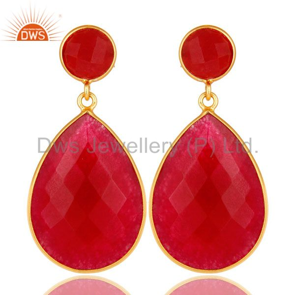18K Yellow Gold Plated Sterling Silver Red Aventurine Bezel Set Teardrop Earring