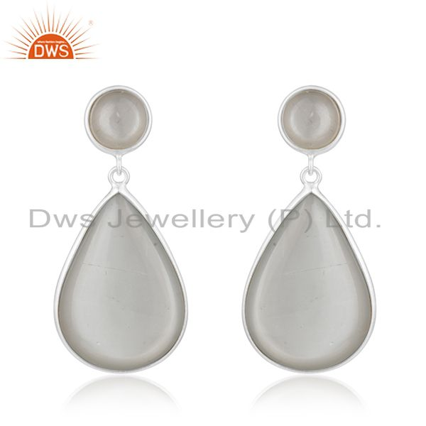 Grey Moonstone 925 Sterling Fine Silver Handmade Drop Earrings Manufacturer