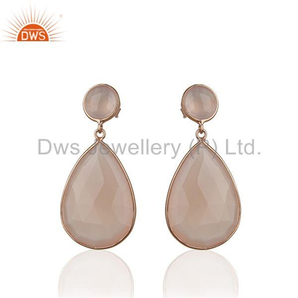 Rose Chalcedony Gemstone Solid Silver Rose Gold Plated Dangle Earrings Wholesale