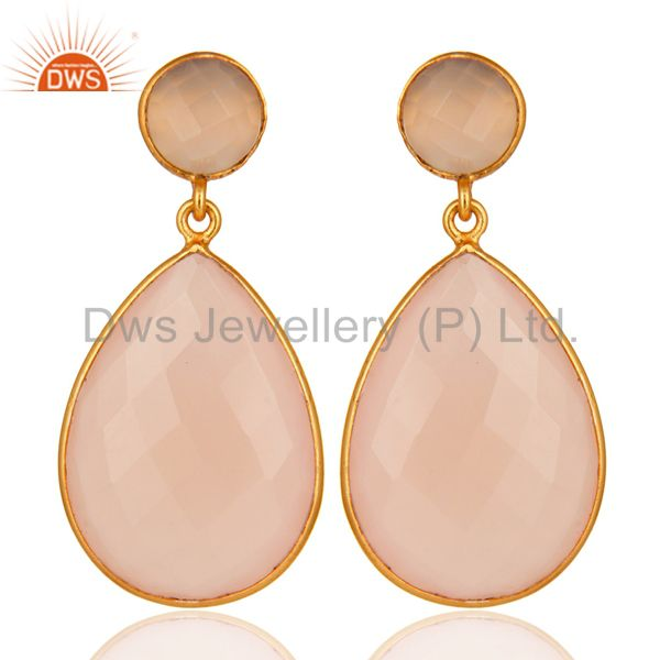 Gold Plated Rose Chalcedony Gemstone Bezel-Set Drop Earrings