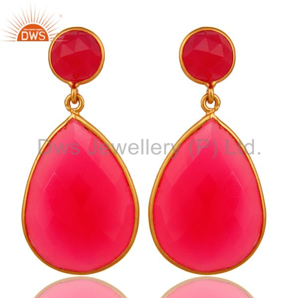 Pink Chalcedony Gemstone Double Drop Earrings In 18K Gold On Sterling Silver
