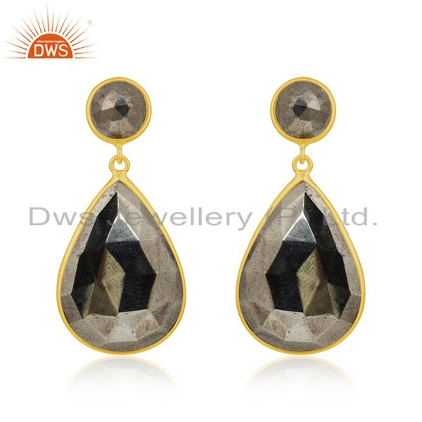 Pyrite Gemstone Gold Plated 925 Silver Dangle Earrings Manufacturer India