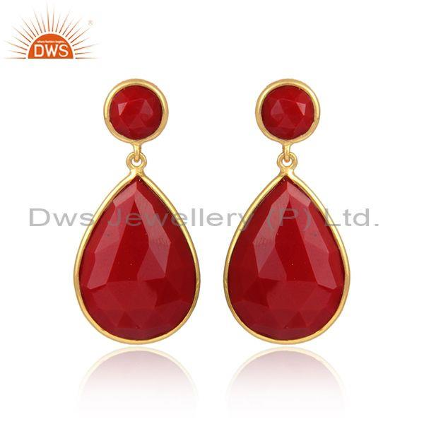 Red agate set gold on silver pear shaped statement earrings