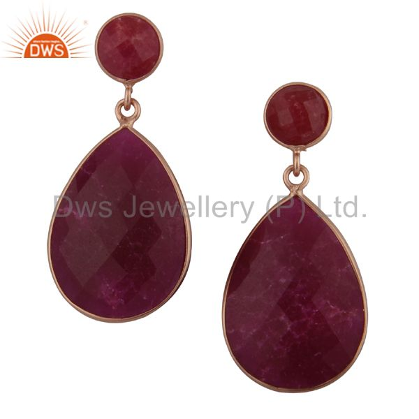 18K Rose Gold Plated Sterling Silver Dyed Ruby Bezel Set Double Drop Earrings