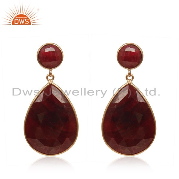 Corundum Ruby Gemstone Rose Gold Plated 925 Silver Earrings Manufacturer India