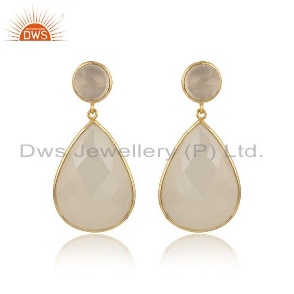 Handcrafted yellow gold on silver white chalcedony drop dangles