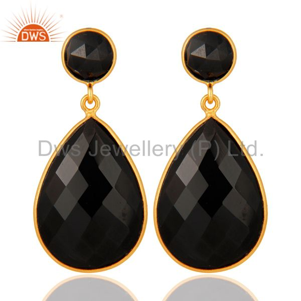 925 Sterling Silver Bezel-Set Black Onyx Gemstone Drop Earrings - Gold Plated