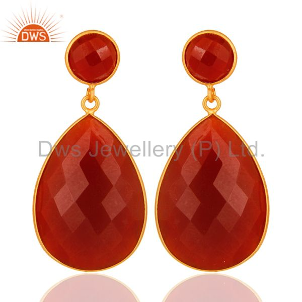 925 Sterling Silver Faceted Red Onyx Gemstone Drop Earrings - Gold Plated