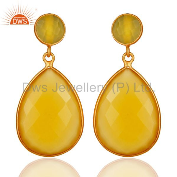 Faceted Teardrop Yellow Moonstone Bezel-Set Drop Earrings In 18K Gold On Silver