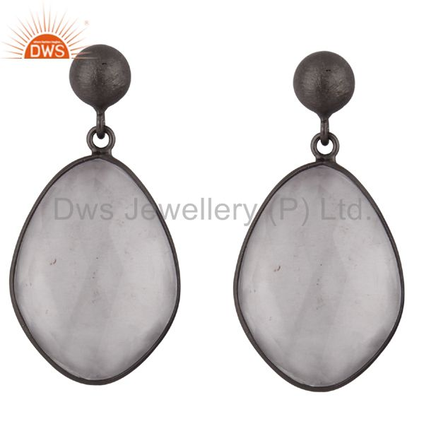 Handmade Sterling Silver With Oxidized Crystal Quartz Bezel Set Dangle Earrings