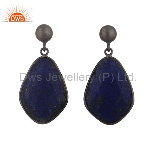Oxidized Sterling Silver Lapis Lazuli Faceted Gemstone Bezel Set Drop Earrings