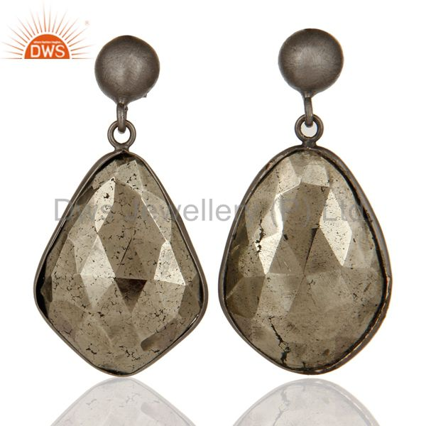 Oxidized Solid Sterling Silver Faceted Pyrite Gemstone Bezel Set Drop Earrings