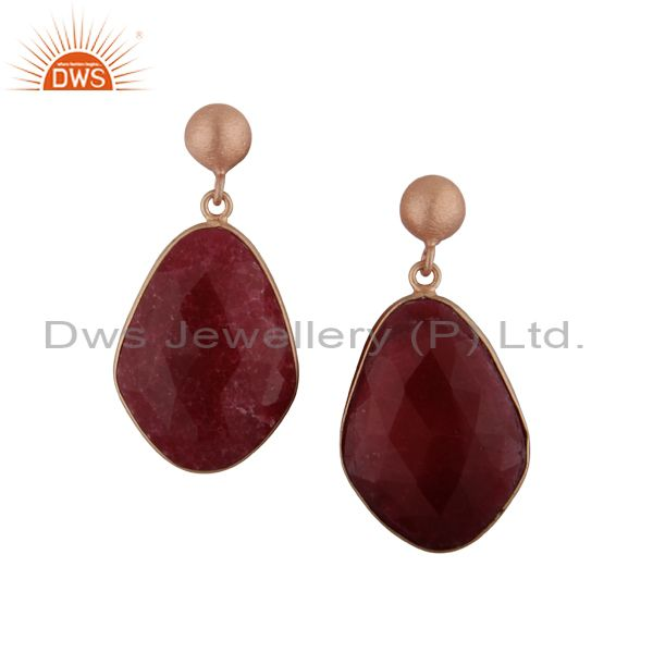 Faceted Dyed Ruby Gemstone Bezel Set Drop Earrings In 18K Rose Gold Over Silver