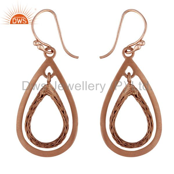18K Rose Gold Plated Sterling Silver Cutout Teardrop Dangle Earrings
