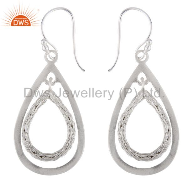 Handcrafted 925 Solid Sterling Silver Cutout Teardrop Dangle Earrings