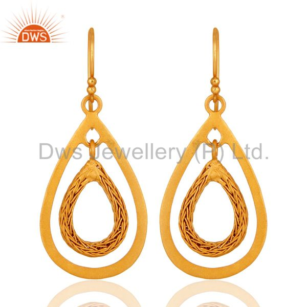 Designer 14k Yellow Gold Plated 925 Sterling Silver Matte Finish Dangle Earrings