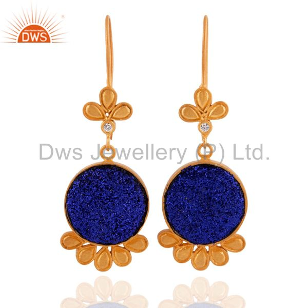 24k Gold Plated White Zircon & Blue Druzy Quartz Round Flower Designer Earrigns