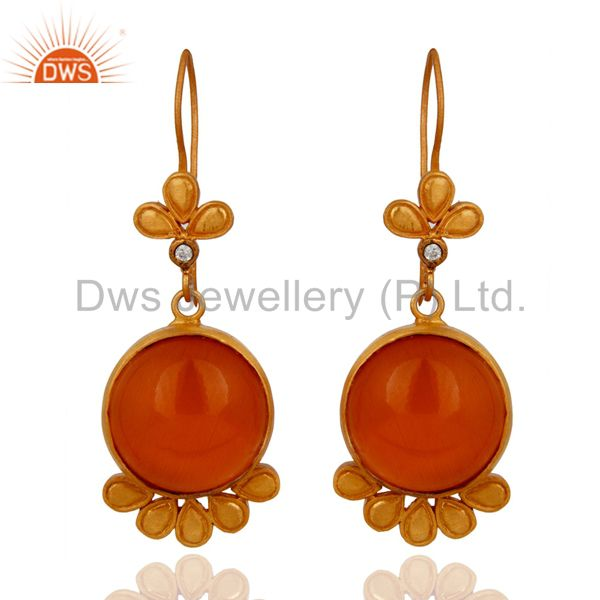 24K Yellow Gold Plated Brass Peach Moonstone Flower Designer Earrigns With CZ