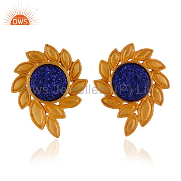 22K Yellow Gold Plated Brass Blue Druzy Agate Designer Stud Earrings For Women