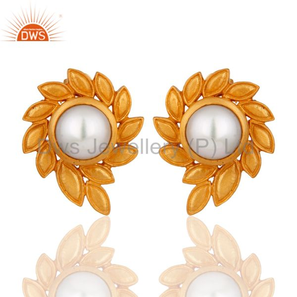 Gorgeous 24K Gold Plated Natural Pearl Flower Handmade Designer Stud Earrings