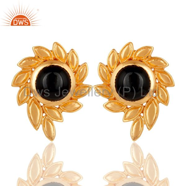 Handmade Black Onyx Gemstone Stud Earrings With 22k Yellow Gold Plated Jewelry