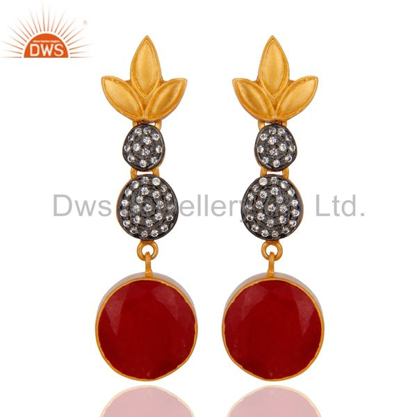 18k Yellow Gold Over Brass Red Aveturine  Round White Zircon Women Earrings