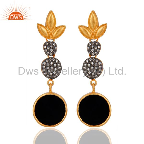 18k Yellow Gold Plated Brass Black onyx Round White Zircon Women Earrings