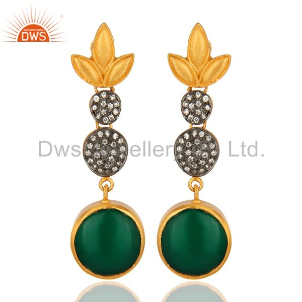 Handmade Green Onyx Gemstone Earrings Made In 18K Gold Over Brass
