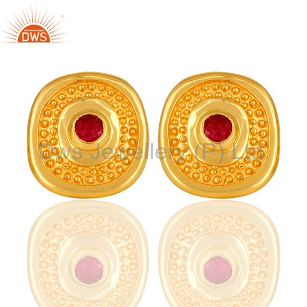 Handmade Red Aventurine Gemstone 14K Gold Plated Ladies Stud Earrings