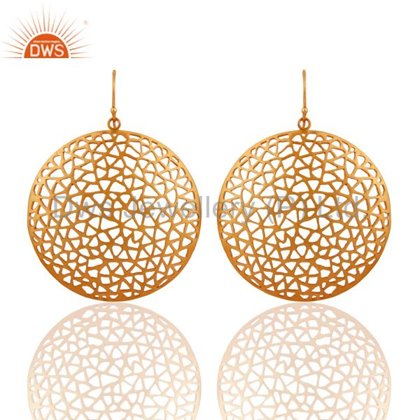 18K Yellow Gold Plated Sterling Silver Filigree  Disc Designer Dangle Earrings