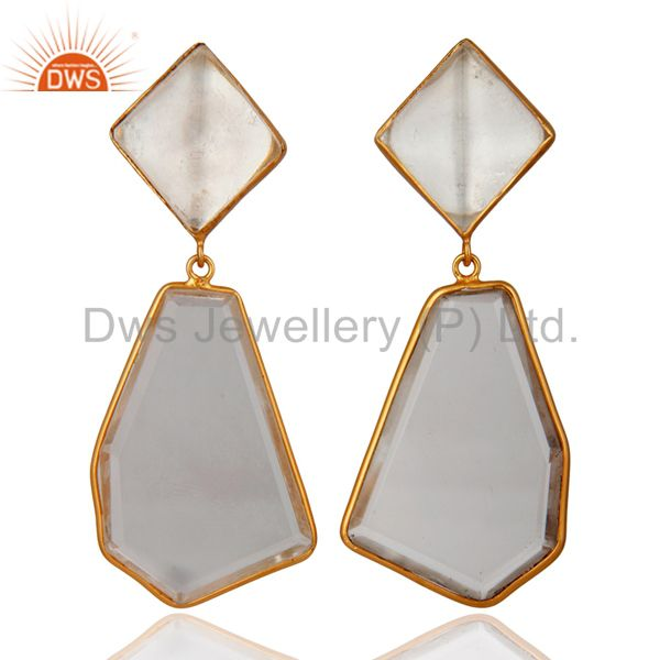 Gold Plated Sterling Silver Fancy Shape Crystal Quartz Bezel-Set Dangle Earring