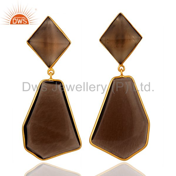 Gold Plated Sterling Silver Fancy Shape Smoky Quartz Bezel-Set Dangle Earring