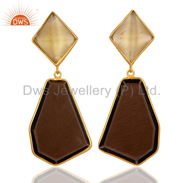 Lemon Topaz & Smoky Quartz Silver Dangle Earrings In 18K Gold On Sterling Silver