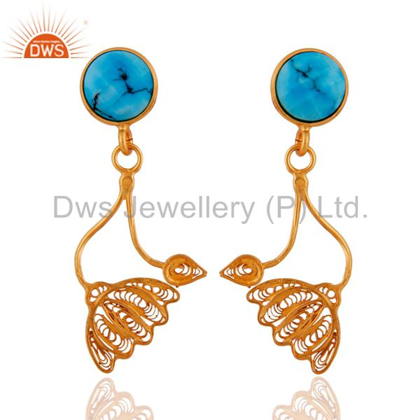 22K Yellow Gold Plated Sterling Silver Turquoise Gemstone Flower Dangle Earrings